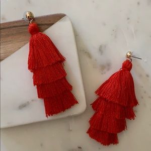 BOGO! Red Layered Tassel Earrings